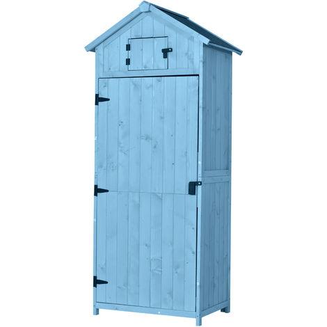 Armoire abri de jardin remise pour outils 3 étagères 2 porte loquets toit pente bitumé 77L x 54l x 179H cm pin massif traité bleu