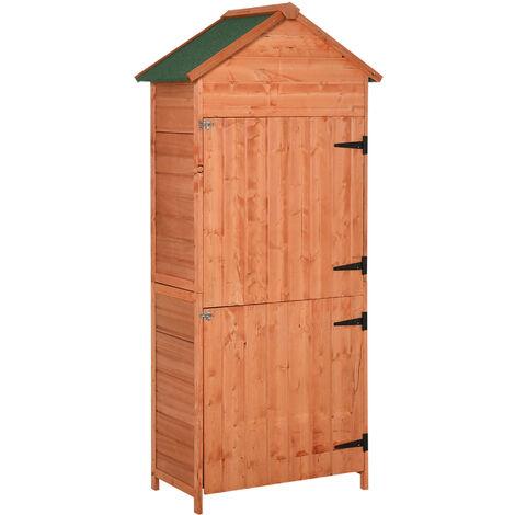 Armoire abri de jardin remise pour outils 3 étagères 2 portes loquets toit pente bitumé 89L x 50l x 190H cm pin massif