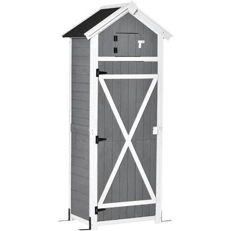 Armoire abri de jardin remise pour outils 4 étagères 9 crochets 2 porte loquets toit pente bitumé sapin gris blanc