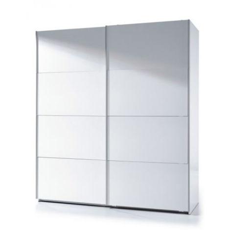 Armoire avec 2 portes coloris blanc brillant - 200 x 180 x 53 cm -PEGANE-