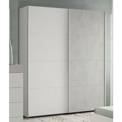 Armoire avec 2 portes décor béton et blanc artic - 200 x 150 x 60 cm -PEGANE-