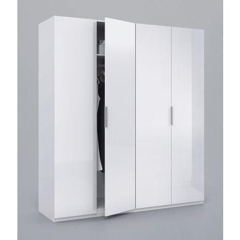 Armoire avec 4 portes coloris blanc en bois - Dim : H200 x L180 x P52 cm -PEGANE-