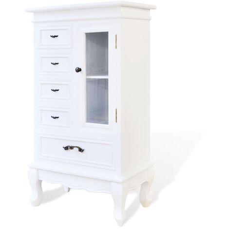 Armoire avec 5 tiroirs et 2 étagères Blanc