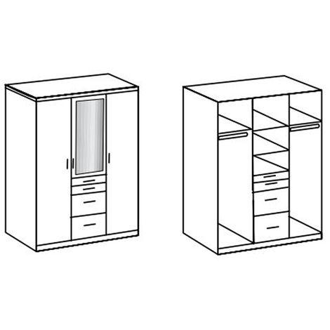 Armoire avec miroir 3 portes Blanc - L135 x H199 x P58 cm -PEGANE-
