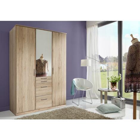 Armoire avec miroir 3 portes Imitation chêne San Remo - L135 x H199 x P58 cm -PEGANE-