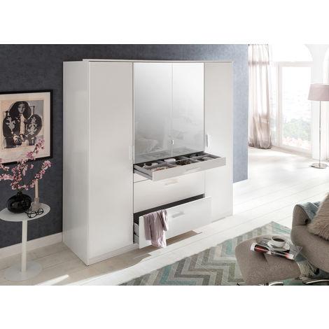 Armoire avec miroir 4 portes Blanc - L180 x H199 x P58 cm -PEGANE-