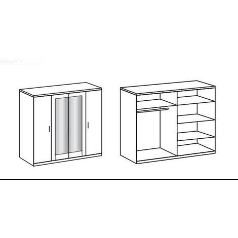 Armoire avec miroir 4 portes Blanc, rechampis teinte béton gris clair - L225 x H210 x P58 cm -PEGANE-