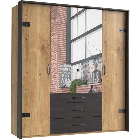 Armoire avec miroir 4 portes en chêne poutre + un cadre en couleur rechampis raw steel - L200 x H216 x P58 cm -PEGANE-