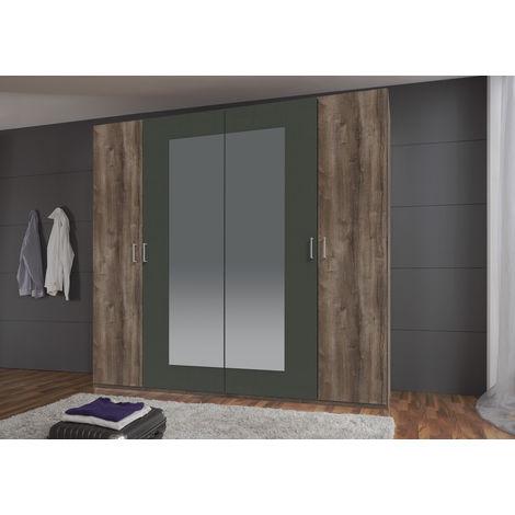 Armoire avec miroir 4 portes Imitation chêne chataigne rechampis graphite - L225 x H210 x P58 cm -PEGANE-