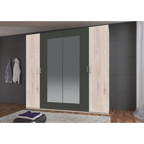 Armoire avec miroir 4 portes Imitation chêne Hickory rechampis graphite - L225 x H210 x P58 cm -PEGANE-