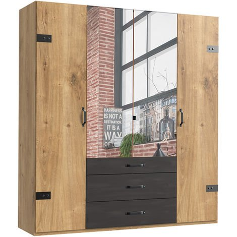 Armoire avec miroir 4 portes Imitation chêne poutre rechampis raw steel - L200 x H216 x P58 cm -PEGANE-