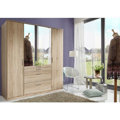 Armoire avec miroir 4 portes Imitation chêne San Remo - L180 x H199 x P58 cm -PEGANE-