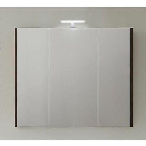 Armoire avec miroir-eclairage meleze marron - 3 portes 950x750x188mm