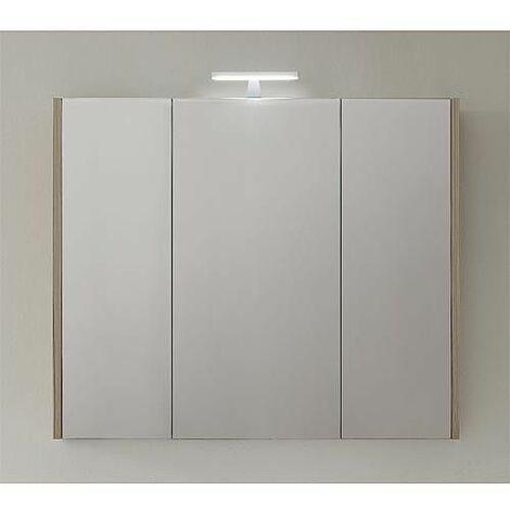 Armoire avec miroir-eclairage meleze marron clair - 3 portes 950x750x188mm