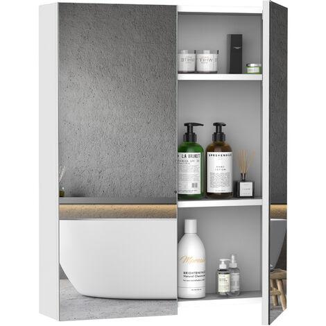 Armoire avec miroir en bois rangement salle de bain fermeture porte tampon MDF blanc