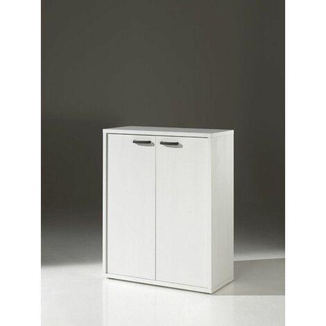 Armoire basse de bureau contemporaine Carlos Blanc - Blanc, gris ou chêne/noir