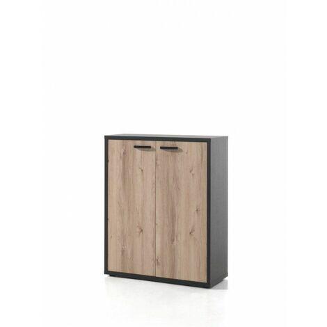 Armoire basse de bureau contemporaine Carlos Chêne/noir - Blanc, gris ou chêne/noir