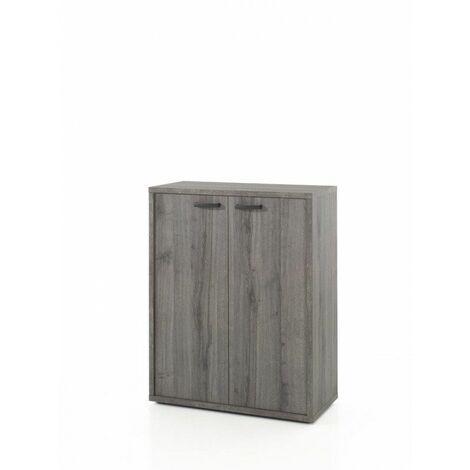 Armoire basse de bureau contemporaine Carlos Gris - Blanc, gris ou chêne/noir