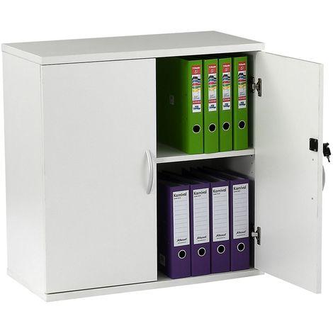 Armoire basse de bureau en bois | Hauteur 816 mm | 1 étagère | Blanc | Karbon | Certeo