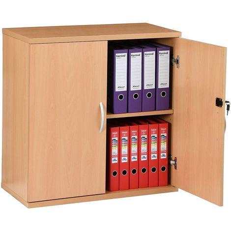 Armoire basse de bureau en bois | Hauteur 816 mm | 1 étagère | Hêtre | Karbon | Certeo