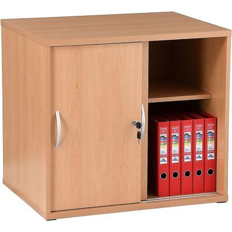 Armoire basse de bureau en bois | LxPxH 800 x 600 x 730 mm | portes coulissantes | Hêtre | Karbon | Certeo