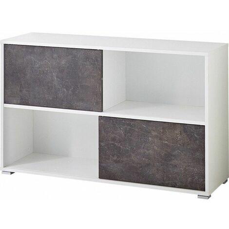 Armoire basse de bureau moderne blanc/basalte Mezzo - Blanc/basalte