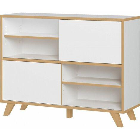 Armoire basse de bureau scandinave Paco Blanc/chêne - Blanc/chêne ou anthracite/chêne