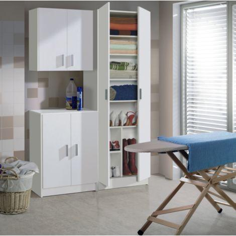 Armoire basse multifonction 80 cm blanc mat avec deux portes et une étagère | Blanc