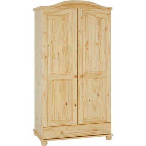 Armoire BERGEN dressing pour vêtements avec 2 portes penderie 1 tringle et 1 étagère et 1 tiroir, en pin massif vernis naturel
