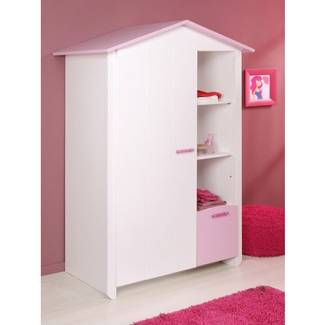 Armoire Blanche et Rose pour Chambre Fille - Dim : L 112 x H 181 x P 60 cm