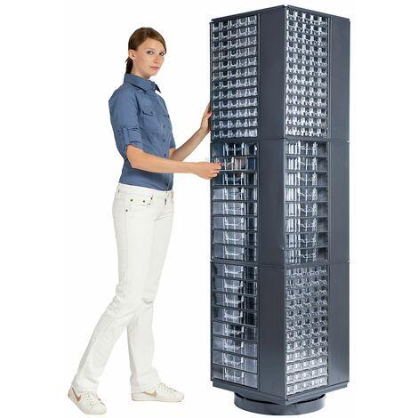 Armoire colonne rotative pour blocs-tiroirs | Pour casiers à vis 551 x 306 x 155 mm (non inclus) | 3 niveaux | Certeo - Coloris: anthracite RAL 7016