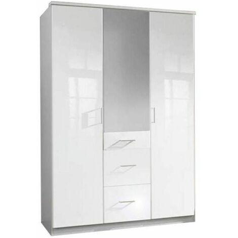 Armoire COOPER 3 portes 3 tiroirs largeur 135 laquée blanc - blanc