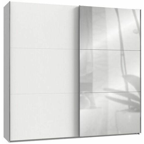 Armoire coulissante LISBETH 1 porte blanc 1 miroir 250 x 236 cm HT - blanc