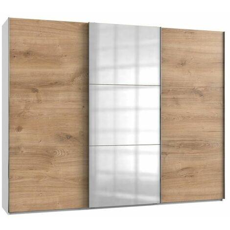 Armoire coulissante LISBETH 2 portes chêne 1 miroir 300 x 236 cm HT - bi color
