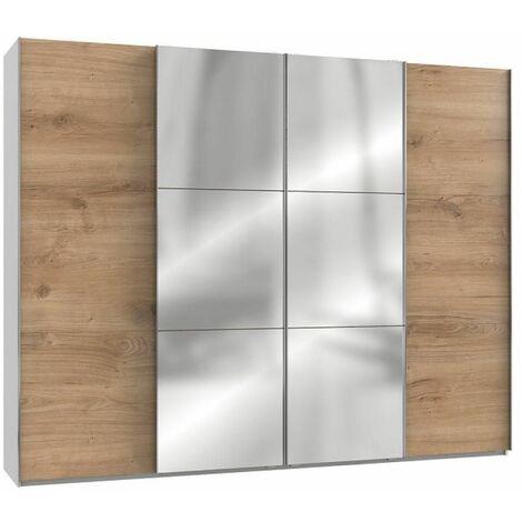 Armoire coulissante LISBETH 2 portes chêne 2 miroirs 300 x 236 cm HT - bi color