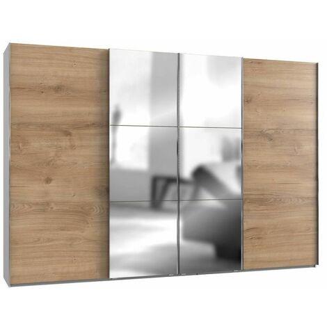 Armoire coulissante LISBETH 2 portes chêne 2 miroirs 350 x 236 cm HT - bi color