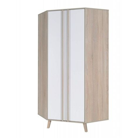 Armoire d'angle 2 portes de la collection MALMO. Meuble design type SCANDINAVE. - Blanc