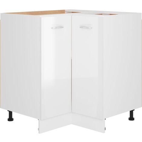 Armoire d'angle Blanc brillant 75,5x75,5x80,5 cm Aggloméré