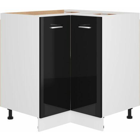 Armoire d'angle Noir brillant 75,5x75,5x80,5 cm Aggloméré