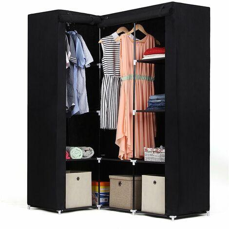 Armoire d'Angle Penderie dressing en textile non-tissé 129 x 87 x 169cm Noir LSF42H