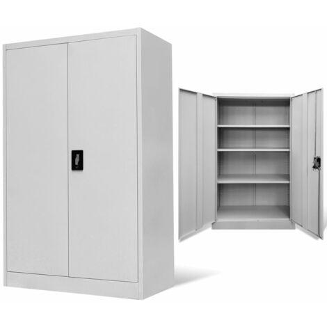 Armoire de bureau 90x40x140 cm Acier Gris