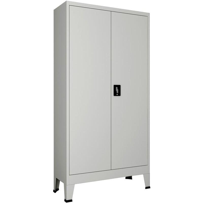 Vidaxl - Armoire de bureau avec 2 portes Acier 90 x 40 x 180 cm Gris