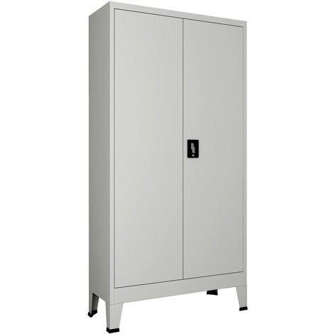 Armoire de bureau avec 2 portes Acier 90 x 40 x 180 cm Gris