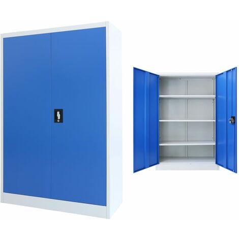 Armoire de bureau Métal 90 x 40 x 140 cm Gris et bleu