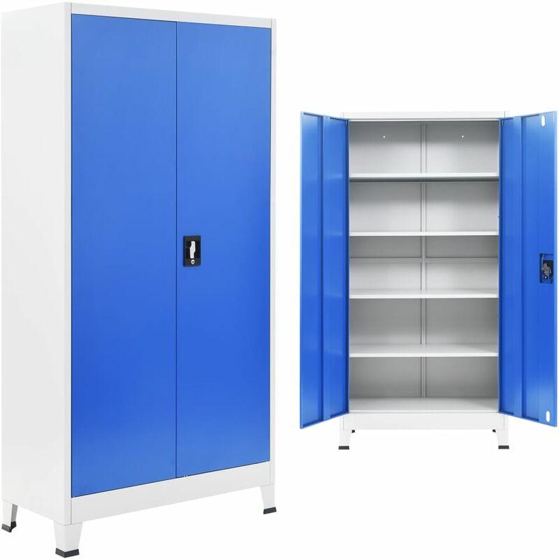 Armoire de Bureau Métal Gris et Bleu 90x40x180 cm
