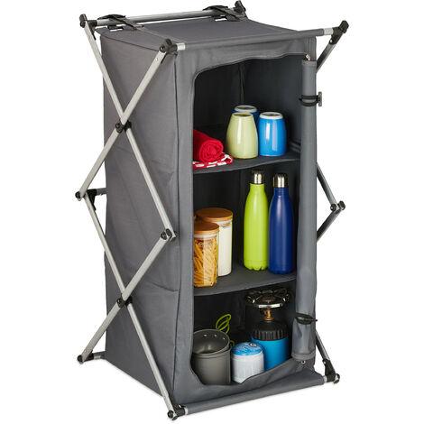 Armoire de camping pliante, étagère avec 3 rangement, transportable, pliante, extérieur, 93 x 54 x 54 cm, gris