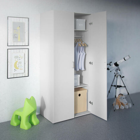 Armoire de chambre - Blanc - 2 portes - 2 tablettes + tringle - 77x175x49