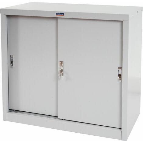 Armoire de classement Valberg T333, armoire de bureau en métal, 2 portes coulissantes 83x91x46cm ~ gris
