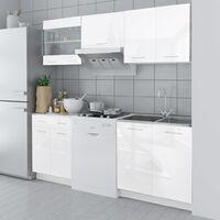 Armoire de cuisine 5 pcs Blanc haut brillance 200 cm