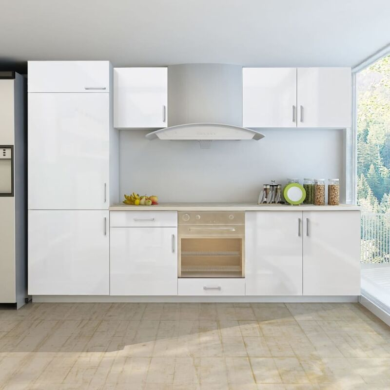 Armoire de cuisine et frigo encastré 7 pcs Blanc brillant 270cm